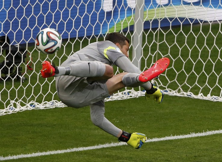 Brazil's goalkeeper Julio Cesar fails to save a goal by Germany's Thomas Mueller (unseen) during their 2014 World Cup semi-finals at the Mineirao stadium in Belo Horizonte July 8, 2014.(David Gray/Reuters)