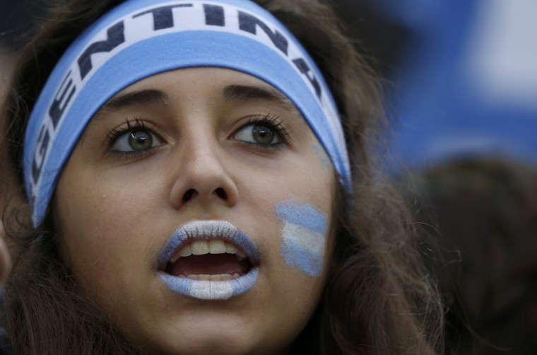 An Argentine fan waits for the start of the 2014 World Cup semi-finals between the Netherlands and Argentina at the Corinthians arena in Sao Paulo July 9, 2014. (Sergio Moraes/Reuters)