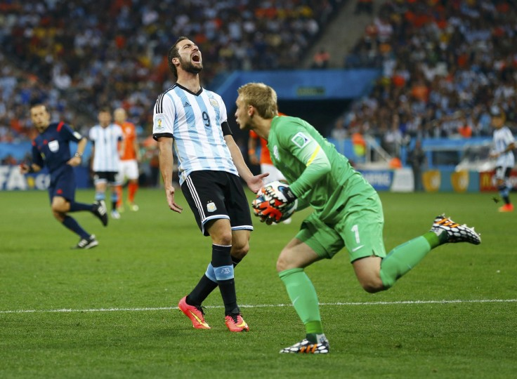 Argentina's Gonzalo Higuain reacts to goalkeeper Jasper Cillessen of the Netherlands saving his shot during their 2014 World Cup semi-finals at the Corinthians arena in Sao Paulo July 9, 2014. (Darren Staples/Reuters)