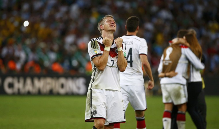 Germany's Bastian Schweinsteiger reacts after the whistle during extra time in the 2014 World Cup final between Germany and Argentina at the Maracana stadium in Rio de Janeiro July 13, 2014. (Michael Dalder/Reuters)