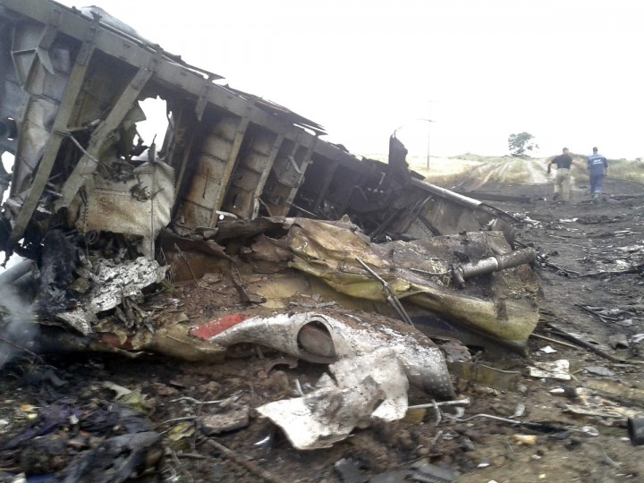 The site of a Malaysia Airlines Boeing 777 plane crash is seen in the settlement of Grabovo in the Donetsk region, July 17, 2014. The Malaysian airliner MH-17 was shot down over eastern Ukraine by militants on Thursday, killing all 295 people aboard, a Ukrainian interior ministry official was quoted as saying by Interfax-Ukraine news agency. (Maxim Zmeyev/Reuters)