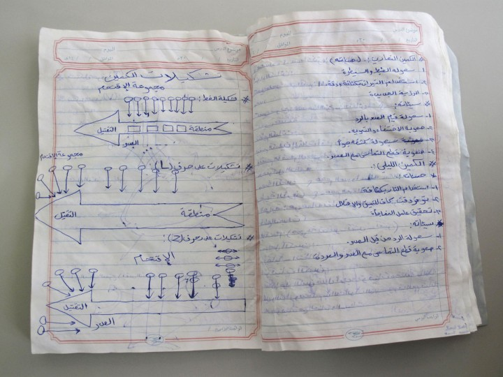 A notebook belonging to an al Qaeda fighter, which was found in a former militant training camp in southern Yemen in May 2014, is seen in this picture taken July 8, 2014. The left page shows diagrams depicting various types of ambushes. (REUTERS/Martin Dokoupil)