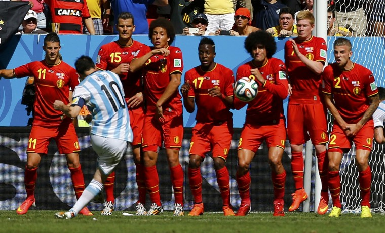 Lionel Messi takes a free kick during the 2014 World Cup quarterfinals between Argentina and Belgium. (REUTERS/Damir Sagolj)