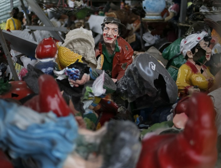 Clay toys damaged by a recent shelling are seen in the eastern Ukrainian village of Semenovka on July 9, 2014. (REUTERS/Gleb Garanich)