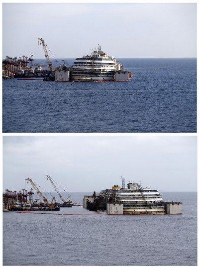 A combination photo shows cruise liner Costa Concordia before (top) and after the refloat operation at Giglio harbor at Giglio Island July 14, 2014. (REUTERS/Alessandro Bianchi)