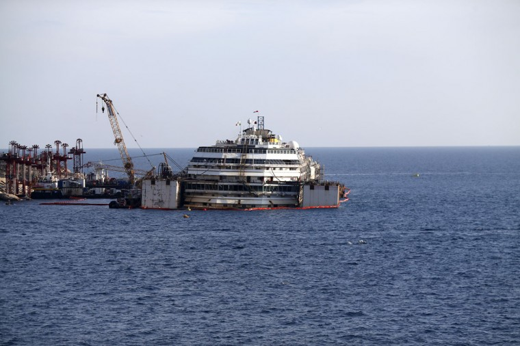 Cruise liner Costa Concordia is seen before the refloat operation at Giglio harbor at Giglio Island July 14, 2014. (REUTERS/Alessandro Bianchi)