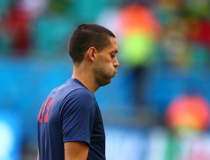 United States forward Clint Dempsey (8) reacts prior to the game against Belgium during the round of sixteen match in the 2014 World Cup at Arena Fonte Nova. (Mark J. Rebilas/USA TODAY Sports)