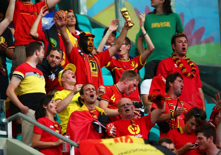 Belgium fans in the grandstands cheer prior to the match against USA during the round of sixteen match in the 2014 World Cup at Arena Fonte Nova. (Mark J. Rebilas/USA TODAY Sports)