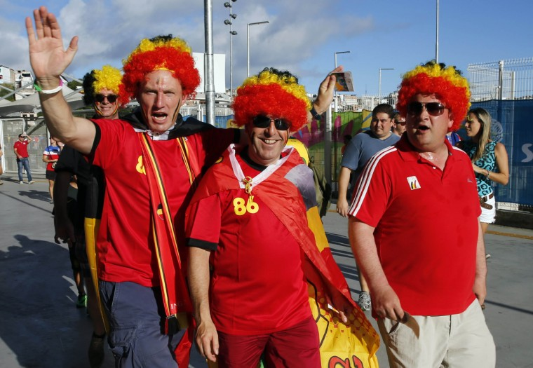 Belgium fans arrive before their round of sixteen match against the United States in the 2014 World Cup at Arena Fonte Nova. (Winslow Townson/USA TODAY Sports)