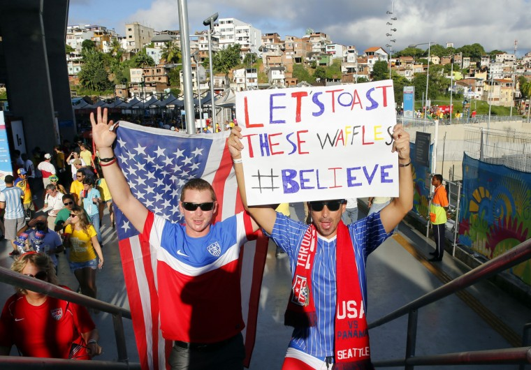 United States fans Evan (left) and Ian Levine of Jacksonville arrive before the round of sixteen match against Belgium in the 2014 World Cup at Arena Fonte Nova. (Winslow Townson/USA TODAY Sports)