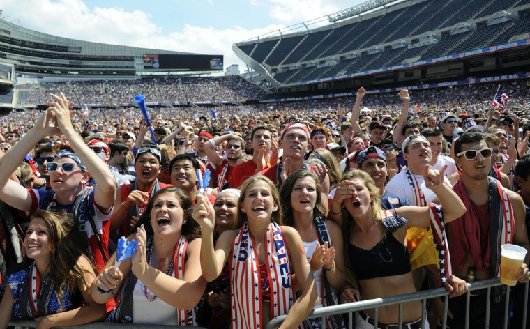 Soccer fans at a viewing party watch the USA versus Belgium World Cup Soccer match at Soldier Field. (David Banks/USA TODAY Sports)