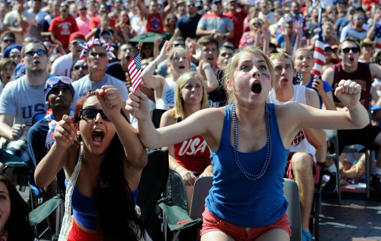 Soccer fan Noriani Estevez, age 16, (left) and MaryKate Thornton, age 17, (right) both of Macungie, PA, react during the first half of the USA versus Belgium world cup soccer match at SteelStacks. (Eileen Blass/USA TODAY Sports)