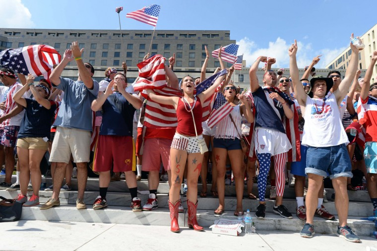 Soccer fans react during a viewing party for the USA versus Belgium World Cup Soccer match on Freedom Plaz. (H. Darr Beiser/USA TODAY Sports)
