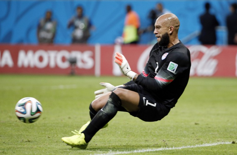 United States goalkeeper Tim Howard (1) makes a save against Belgium during the second half of their round of sixteen match in the 2014 World Cup at Arena Fonte Nova. (Winslow Townson/USA TODAY Sports)