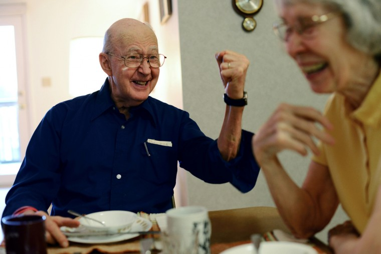 "Ted Buckley and Jan Buckley share a laugh over breakfast. ""I treasure everyday that we have. I just enjoy what it is right now,"" Jan said. Rachel Woolf/Baltimore Sun"