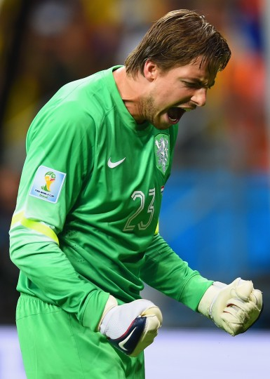 Tim Krul of the Netherlands reacts after making a save in a penalty shootout against Bryan Ruiz of Costa Rica during the 2014 FIFA World Cup Brazil Quarter Final match between the Netherlands and Costa Rica at Arena Fonte Nova Salvador, Brazil. (Jamie McDonald/Getty Images)