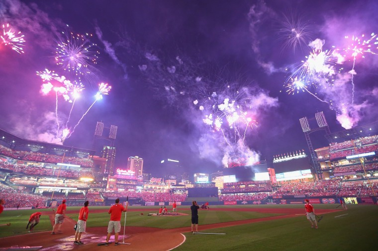 Fireworks, to celebrate Independence Day, are shot off after the St. Louis Cardinals and the Miami Marlins played at Busch Stadium in St. Louis, Missouri. The Cardinals beat the Marlins 3-2. (Dilip Vishwanat/Getty Images)