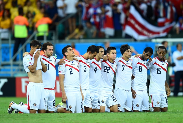 Costa Rica line up for a penalty shootout during the 2014 FIFA World Cup Brazil Quarter Final match between the Netherlands and Costa Rica at Arena Fonte Nova in Salvador, Brazil. (Jamie McDonCosta Rica line up for a penalty shootout during the 2014 FIFA World Cup Brazil Quarter Final match between the Netherlands and Costa Rica at Arena Fonte Nova in Salvador, Brazil. (Jamie McDonald/Getty Images)ald/Getty Images)