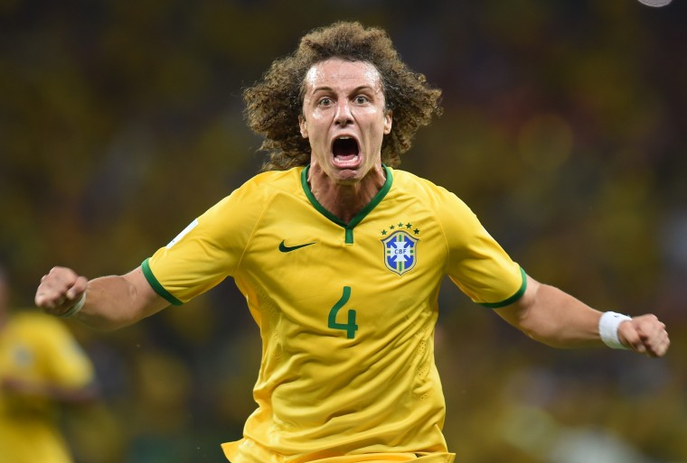 Brazil's defender David Luiz celebrates scoring during the quarter-final football match between Brazil and Colombia at the Castelao Stadium in Fortaleza during the 2014 FIFA World Cup. (Vanderlei Almeida/AFP-Getty Images)