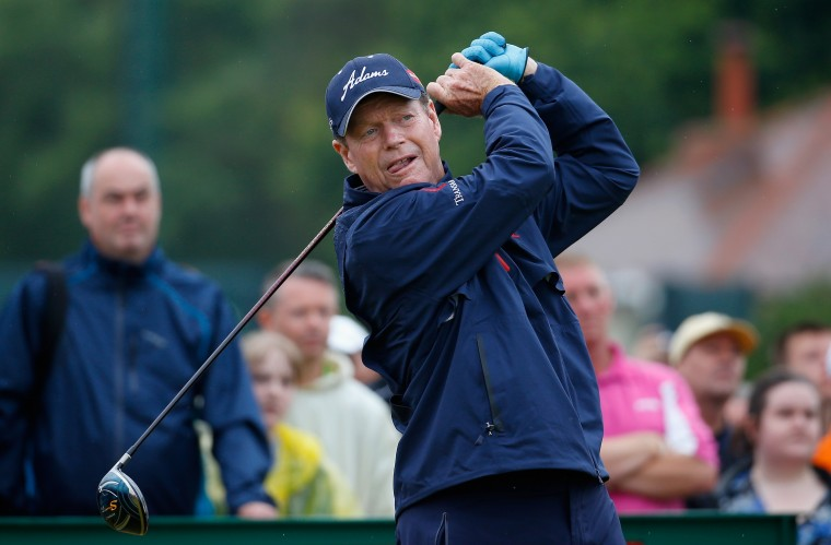 Tom Watson of the United States tees off on the 10th hole during the third round of The 143rd Open Championship at Royal Liverpool in Hoylake, England. (Tom Pennington/Getty Images)
