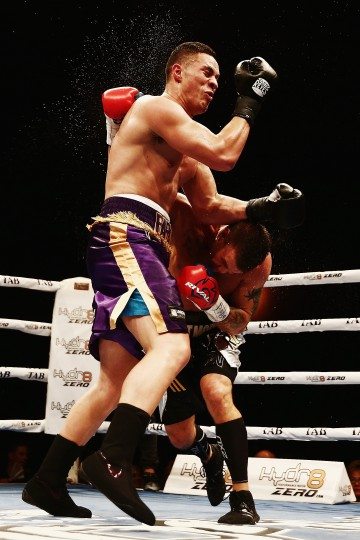 Joseph Parker of New Zealand fights Brian Minto of the United States during a heavyweight bout between at Vodafone Events Centre in Auckland, New Zealand. (Hannah Peters/Getty Images)