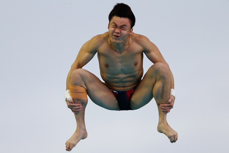 Cao Yuan of China compete in the Men's 3m Springboard Final during day five of the 19th FINA Diving World Cup at the Oriental Sports Center in Shanghai, China. (Lintao Zhang/Getty Images)