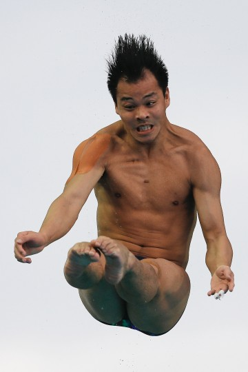 He Chong of China compete in the Men's 3m Springboard Final during day five of the 19th FINA Diving World Cup at the Oriental Sports Center on in Shanghai, China. (Lintao Zhang/Getty Images)