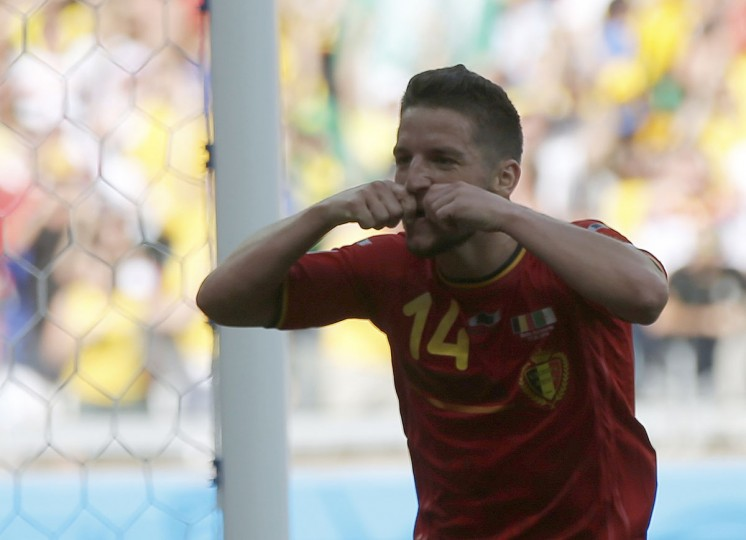 Belgium's Dries Mertens celebrates after scoring a goal against Algeria during their 2014 World Cup Group H soccer match at the Mineirao stadium in Belo Horizonte. (REUTERS/Sergio Perez)
