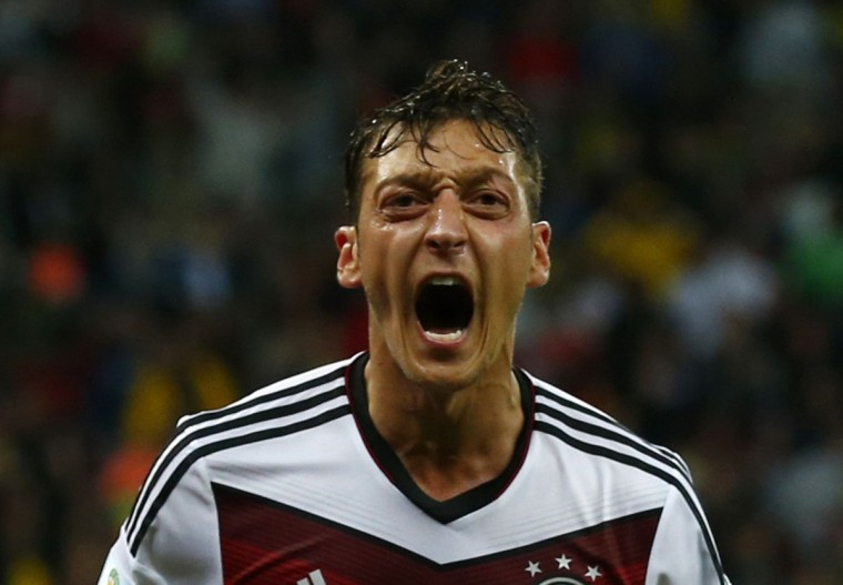 Germany's Mesut Ozil celebrates scoring a goal during extra time in a 2014 World Cup round of 16 game against Algeria. (REUTERS/Darren Staples)