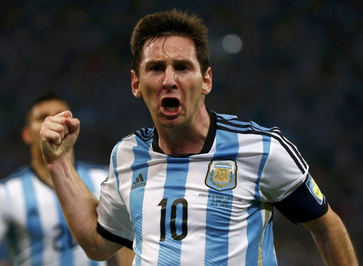 Argentina's Lionel Messi celebrates scoring a goal during the 2014 World Cup Group F soccer match against Bosnia and Herzegovina at the Maracana stadium in Rio de Janeiro. (REUTERS/Michael Dalder)