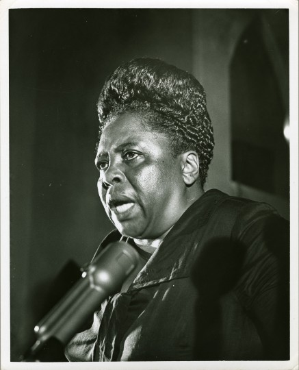 Mrs. Fannie Lou Hamer speaks at a Baltimore-area CORE meeting. The date and location were not recorded by the photographer, Richard Childress. (Maryland Historical Society)