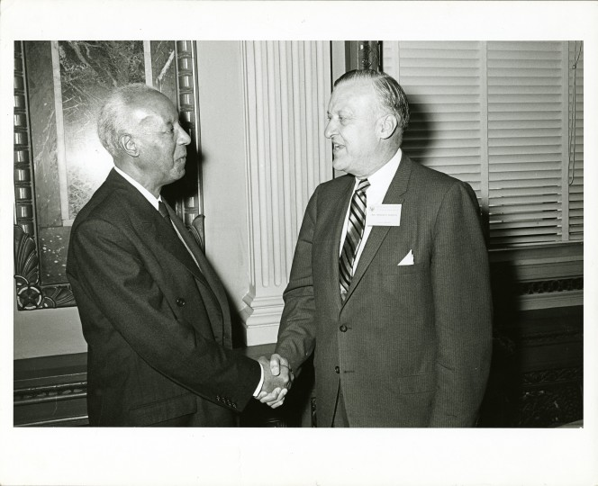 Mayor Theodore McKeldin greets A. Philip Randolph at a White House conference on Civil Rights in 1966. Randolph was a union organizer, radical publisher, and strong believer in collective activism as a means for African-Americans to gain full equality. Together with Bayard Rustin and A. J. Muste, he organized a proposed march on Washington that pressured President Roosevelt to issue Executive Order 8802 (Fair Employment Act, 1941) which banned racial discrimination in war industries. In 1948 when President Truman needed black support to win reelection, Randolph urged him to issue Executive Order 9981 that desegregated the military. (Nat Lipsitz, June 1-2, 1966, Maryland Historical Society)