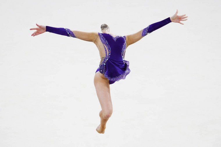 Stephani Sherlock of England performs in the Rhythmic Gymnastics at SECC Precinct during day two of the Glasgow 2014 Commonwealth Games on July 25, 2014 in Glasgow, United Kingdom. (Getty Images)