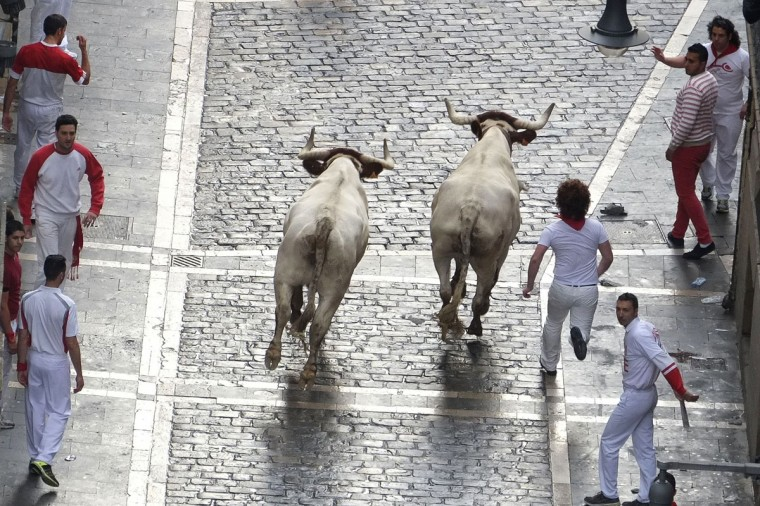 Participants run in front of Torrestrella's bulls during the first bull-run of the San Fermin Festival, on July 7, 2014, in Pamplona, northern Spain. (PEDRO ARMESTRE/AFP/Getty Images)