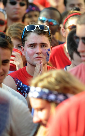 A fan during overtime shortly before Belgium won. Fans gather at the Power Plant Live! to watch the United States' World Cup Round of 16 match against Belgium. The US lost. (Algerina Perna/Baltimore Sun)