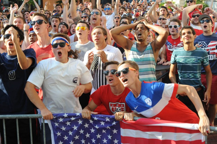 Fans gather at the Power Plant Live! to watch the United States' World Cup Round of 16 match against Belgium. Front row from Hereford are, from left: Jack Jaramillo, 18; Jaxon Frasier, 18, Adam Caulk, 18, and Gavin Bailey, 18 react to Belgium scoring a goal in extra time. The US lost in extra time. (Algerina Perna/Baltimore Sun)