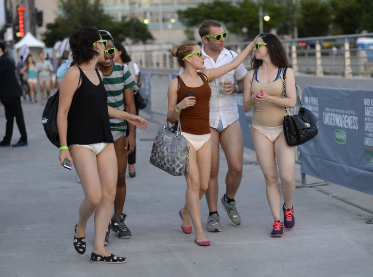 "People arrive at Pier 97 in New York August 6, 2014 for the ""Drop Your Pants and Dance for Underwareness"" to help support the 65 million Americans who experience bladder leakage by bringing the condition and Depend Underwear out of hiding. For every pants drop, photo and video shared using #Underwareness and #DropYourPants, Depend Underwear will donate $1, up to $3 million over the next three years to charitable organizations that advance the research and education of bladder leakage. (Timothy A. Clary/Getty Images)"