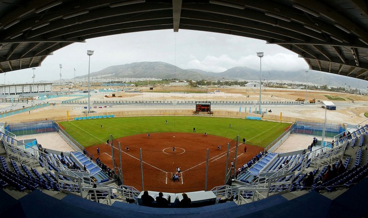 Greece plays the Czech Republic during an Athens 2004 Softball Test Event at the brand new Helliniko Olympic Complex on March 26, 2004 in Athens, Greece. The complex is built on the site of the old airport. (Mike Hewitt/Getty Images)