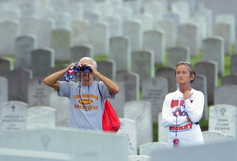 Visitors watch the funeral service for US Army Major General Harold Greene at Arlington National Cemetery in Arlington, Virginia, on August 14, 2014. Greene was the highest ranking US Army officer killed in combat since the Vietnam War. (Al Drago/Al Drago)