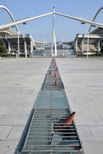 General view outside the Olympic Stadium in Athens, Greece on July 31, 2014. (Milos Bicanski/Getty Images)