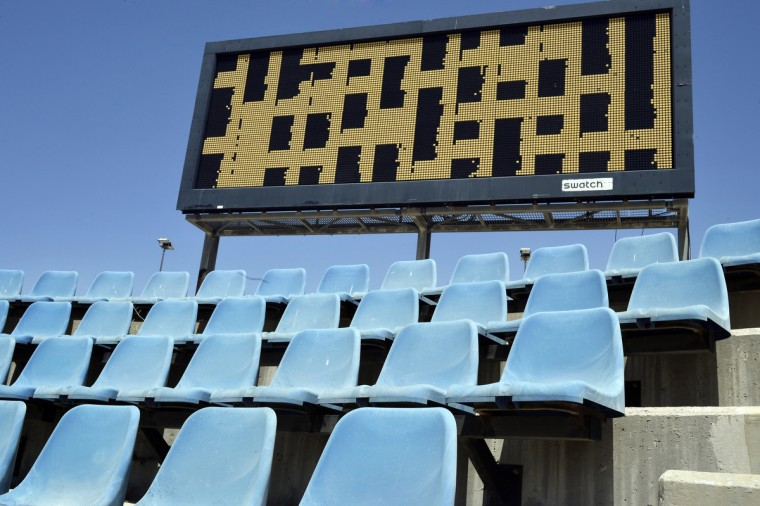 General view of the Olympic Hockey Stadium scoreboard at the Helliniko Olympic complex in Athens, Greece on July 31, 2014. (Milos Bicanski/Getty Images)