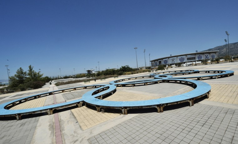 General view of the Olympic rings at the Helliniko Olympic complex in Athens, Greece on July 31, 2014. (Milos Bicanski/Getty Images)