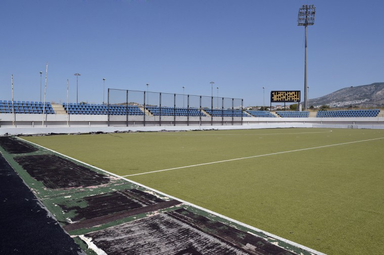 General view of the Olympic Hockey Stadium at the Helliniko Olympic complex in Athens, Greece on July 31, 2014. (Milos Bicanski/Getty Images)