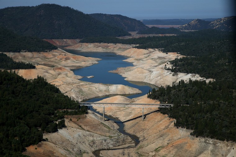 A section of Lake Oroville is seen nearly dry in Oroville, California. As the severe drought in California continues for a third straight year, water levels in the State's lakes and reservoirs is reaching historic lows. Lake Oroville is currently at 32 percent of its total 3,537,577 acre feet. (Justin Sullivan/Getty Images)