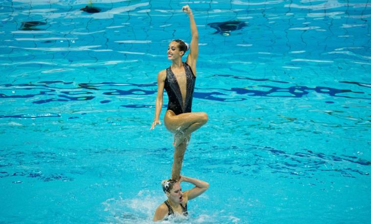 Spain's team performs their routine in the free combination final in the synchronised swimming event of the 32nd LEN European Swimming Championships on August 17, 2014 in Berlin. Ukraine took Gold, Spain silver and Italy bronze. (JOHN MACDOUGALL/AFP/Getty Images)