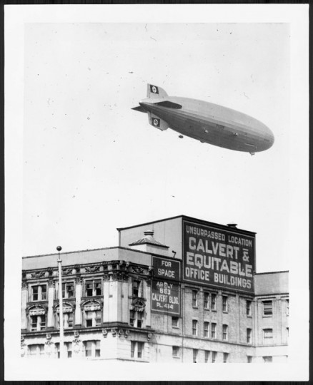 The German dirigible Hindenburg flying over Baltimore. (August 11, 1936/Baltimore Sun file)