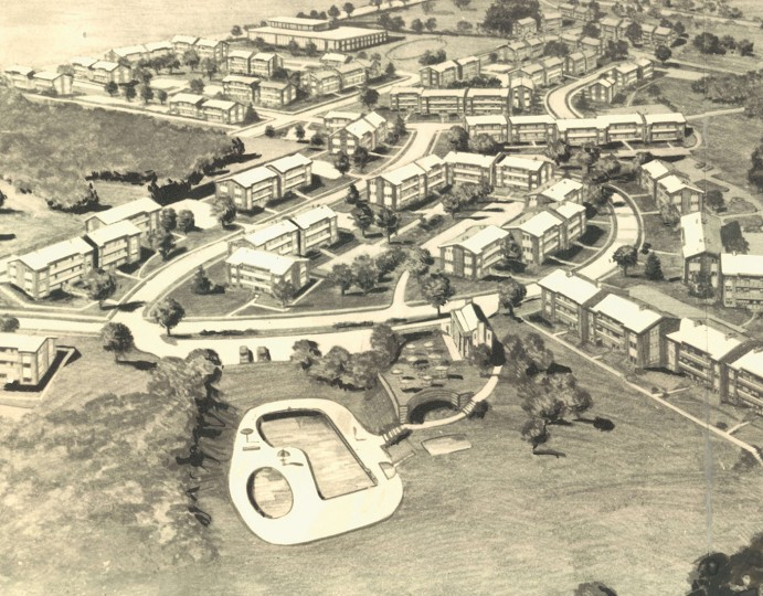 Dec. 13, 1959: The new Wakefield Garden Apartments in the Dickeyville have individual air conditioning and rent from $109.50. The project was to feature a pool and playground.