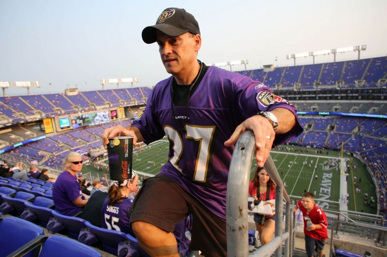 Earl Hicks, from Glenwood, climbs the stairs to the his seat in the upper level before the Baltimore Ravens take on the San Francisco 49ers at M&T Bank Stadium in Baltimore, MD on Thursday, August 7, 2014. (Al Drago/Baltimore Sun)