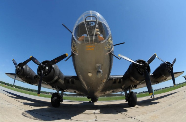 "The ""Movie Memphis Belle,"" a Boeing B-17 restored WWII bomber, is a living museum that's flying the Baltimore skies via the Martin State Airport. (Algerina Perna/Baltimore Sun)"