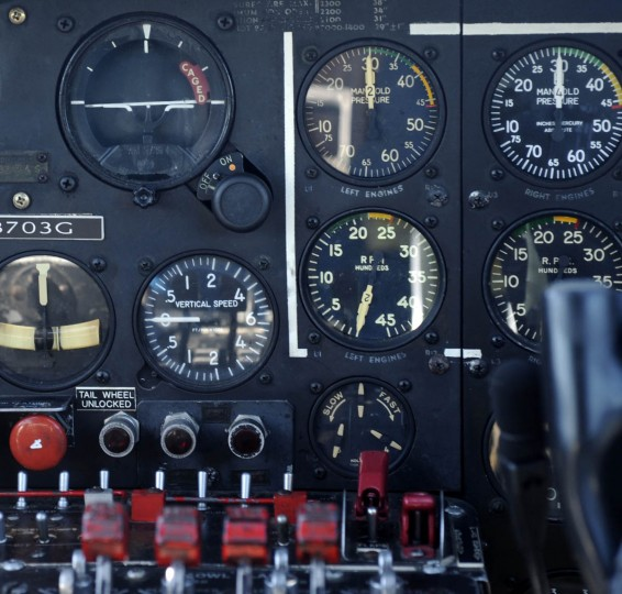 "This is a section of the instrument panel used to fly the ""Movie Memphis Belle."" (Algerina Perna/Baltimore Sun)"